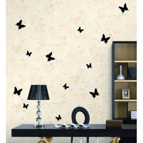 Elegante Wandaufkleber schwarzer Schmetterling - 1 Packung enthält 12 Stück