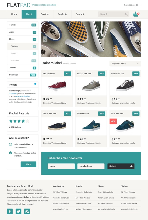 Flatpad online shop psd template by repix design via behance ecommerce web - Internet shop design ...