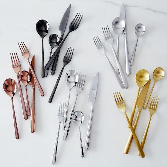 Italian Flatware, Linea (5 Piece Set): Modern, harp geometric lines. #food52