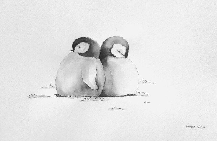 Penguin Chicks, watercolour & ink