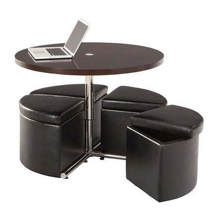 5-Piece Cosmos Teak Coffee Table & Ottoman Set