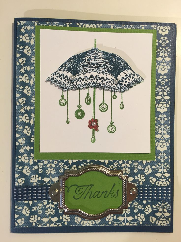 Stampin up Rue Des Fluers with Night of Navy & Gumball Green card stock