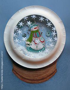 Belsnickle Blogspot : Craft a Christmas Paper Plate Snowglobe   best stuff