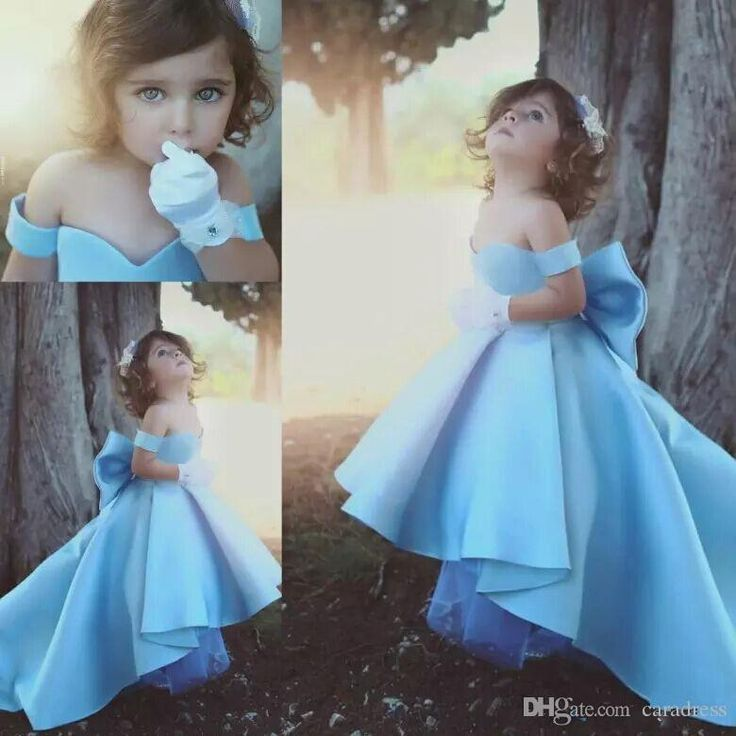 Cute Baby Blue Flower Girls Dress with Big bow High Low Sweetheart A line Kids Gowns Off-Shoulder Stain Children Birthday Party Gowns
