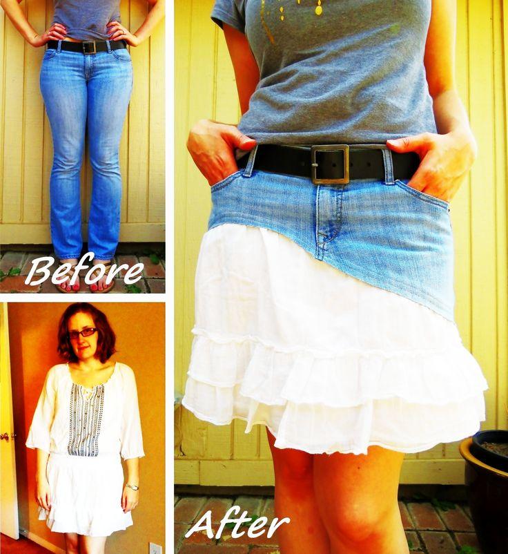 Ruffled Denim Skirt Refashion #howto #tutorial