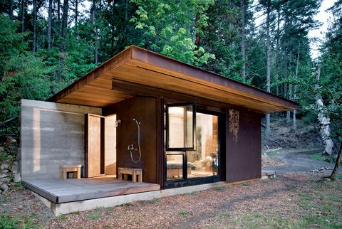 Salt Spring Island Cabin by Olson Sundberg Kundig Allen Architects. 191 SF cabin with shower porch.