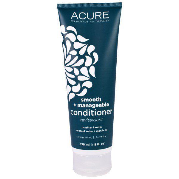 Acure Organics, Après-shampooing pour les cheveux doux et faciles à coiffer, Kératine brésilienne, Eau de coco + Huile de marula, 8floz (236ml)