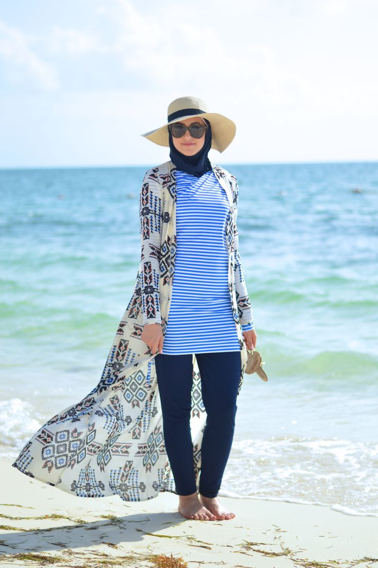 Modest Swimwear! She keeps it stylish and modest at the same time!
