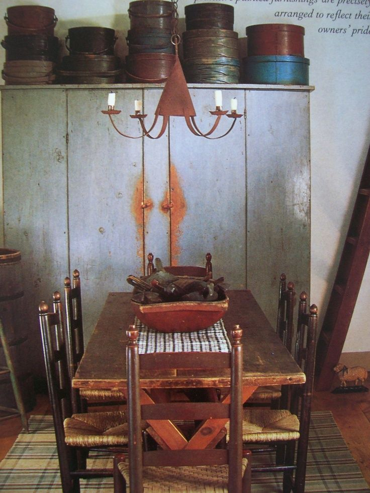 17 best images about primitive baskets and boxes on for Primitive dining room furniture