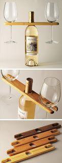 BAIXAR PARA FAZER EM CASA: Suporte para garrafa de vinho 2 taças