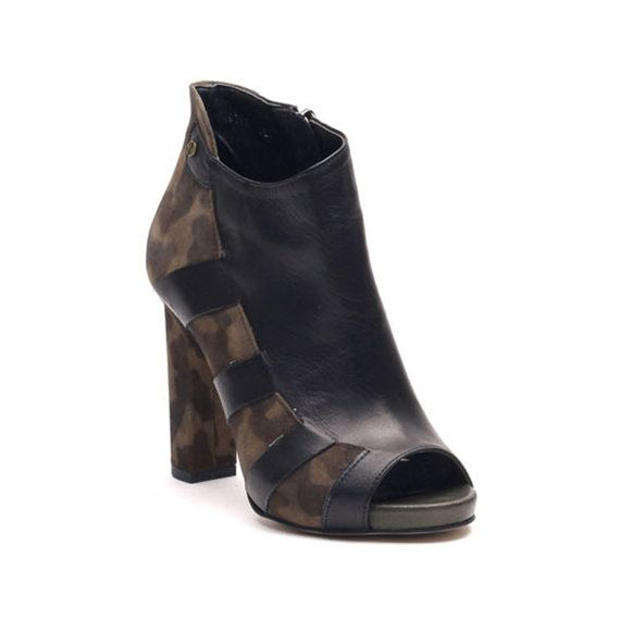 Leather ankle boot heel by KJHeelshop