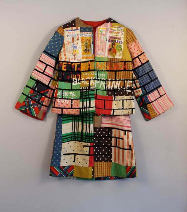 """Elaine """"Jae"""" Jarrell (American, born 1935). Urban Wall Suit, ca. 1969. Sewn and painted cotton and silk, two-piece suit. Brooklyn Museum"""