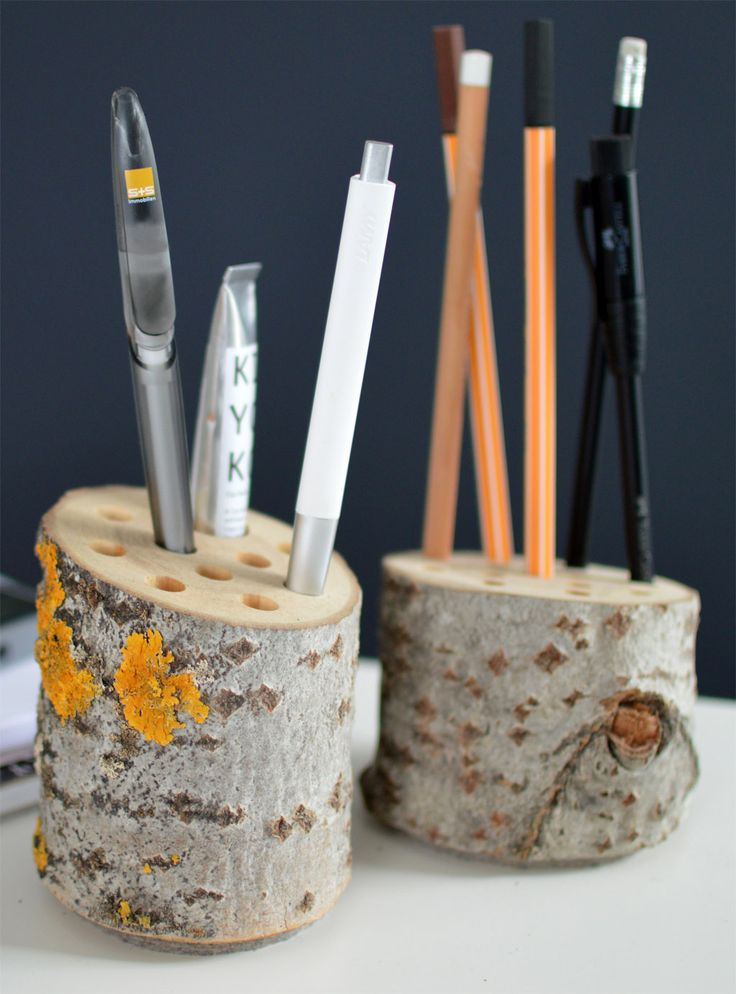 DIY Pen Holders Wood Birch