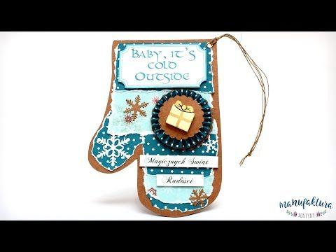 """Kartka świąteczna """"Niebieska Rękawica"""" – Christmas card – Manufaktura Justyny – artykuły do rękodzieła i ozdoby hand made"""