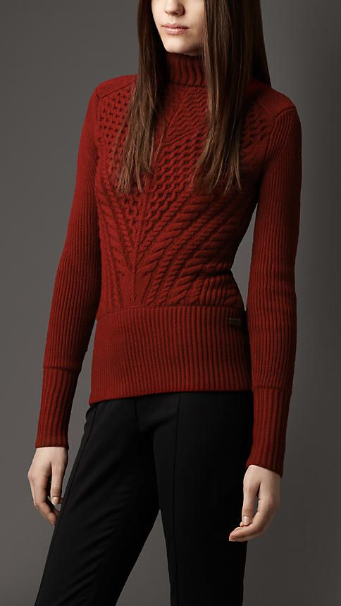 Cable Knit Merino Wool Roll-Neck Sweater | Burberry