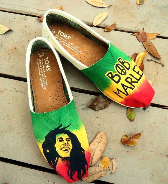 Bob Marley Themed TOMS by LamaLand on Etsy, $115.00