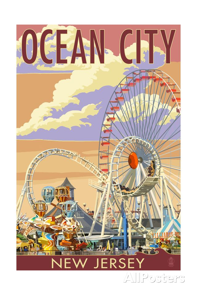 Ocean City, New Jersey - Pier and Sunset Art Print at AllPosters.com