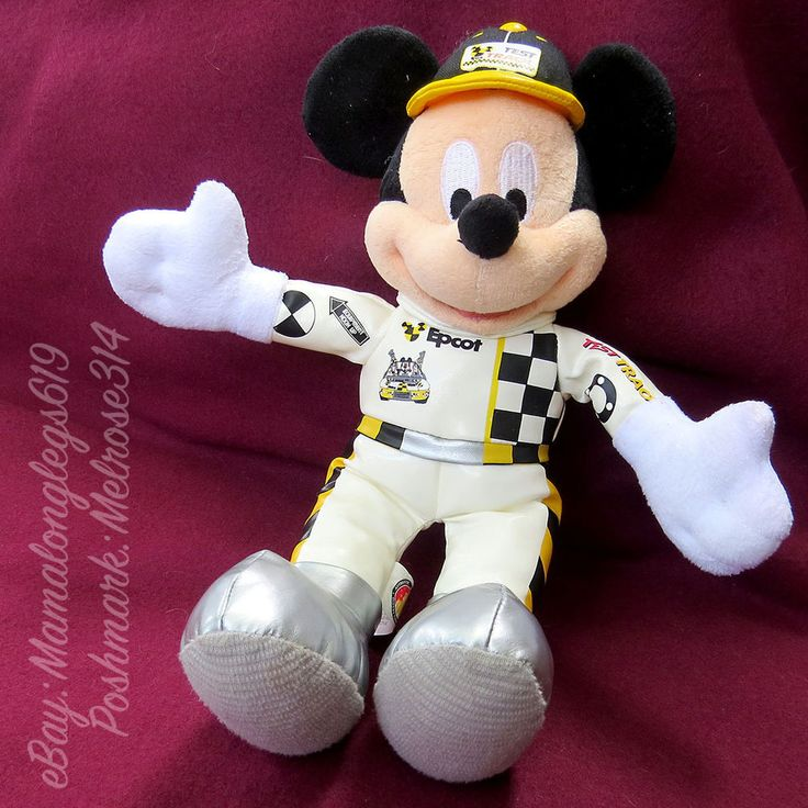 "Vtg Disney Parks Mickey Mouse Epcot Center Test Track Racing Plush Doll 12"" #Disney"
