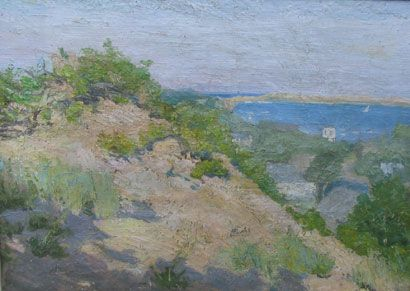 Katherine Adams Lovell : (1877-1965).`View from Telegraph Hill`, oil on canvas, 16 x 20. Studied at PIA School with Charles Hawthorne, Carlson, Pierson and with WM Chase. Member NAWPS, Pen and Brush Club, Brooklyn SA, Studio Guild, NY. Exhibited: NAD, NAWA, S. Indp. A., Brooklyn SA, BM, Ogunquit AC, Gloucester Sa, PBD, Salons of Am., 1922,23,25-26, 30-31, 34.