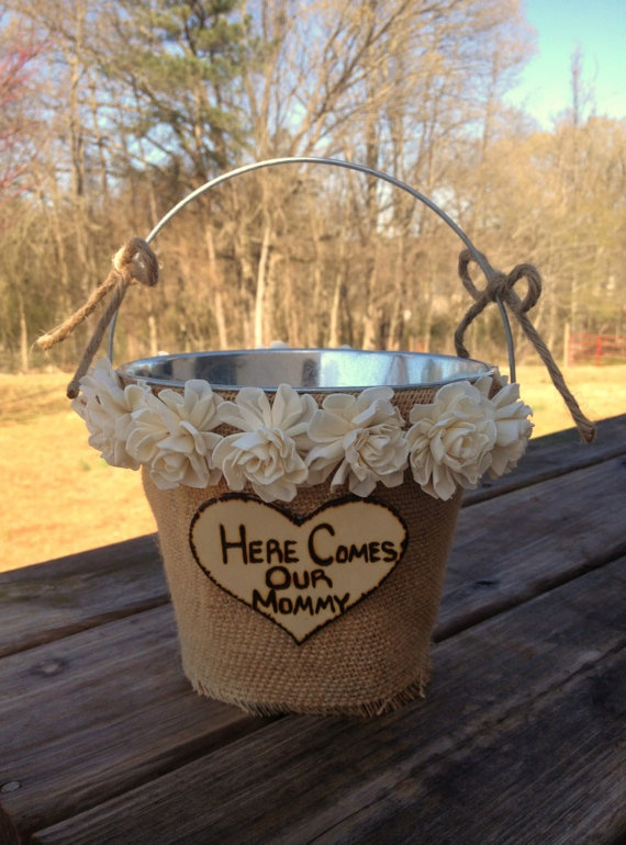 Flower Girl Basket - Flower Girl Pail - Rustic Wedding - Shabby Chic Wedding Decor - Rustic Flower Girl Basket. $40.00, via Etsy.
