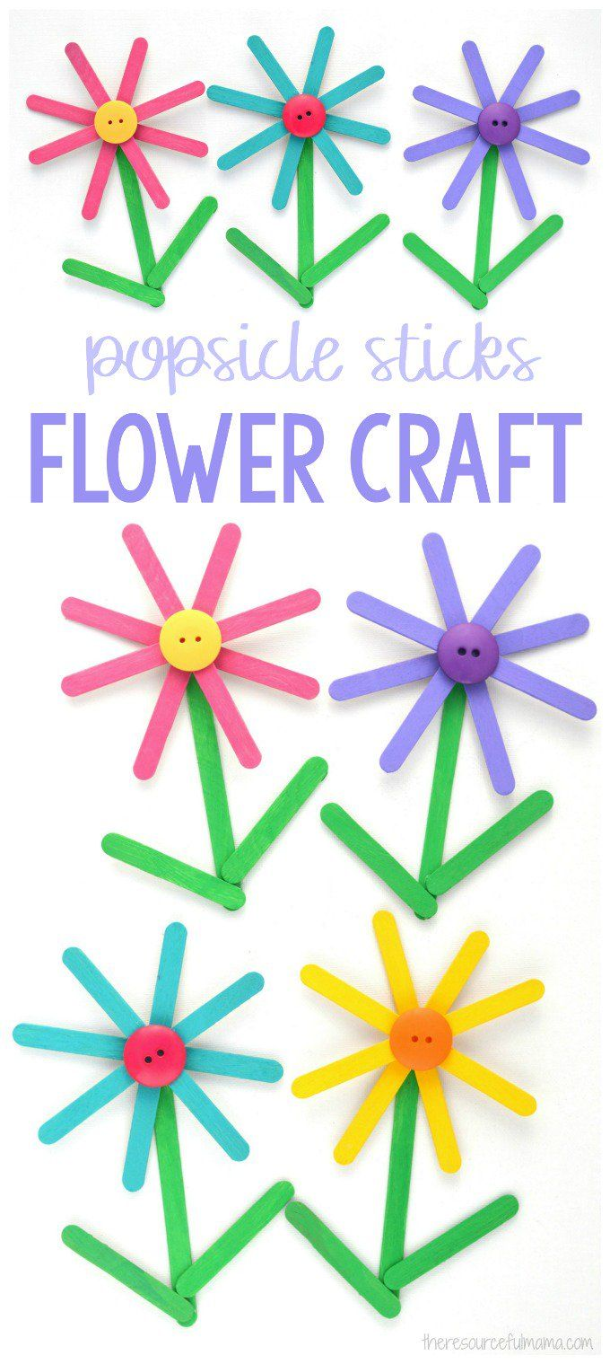 Turn popsicle sticks into a bright and colorful Popsicle Sticks Flower Craft kids will enjoy making both spring and summer. #spring #flowers #craft #kidscraft