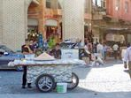 ERBIL, IRAQ, KURDISTAN - CIRCA SEPTEMBER 2011: Hand cart selling food in the Grand Bazaar at the base of the Citadel hill