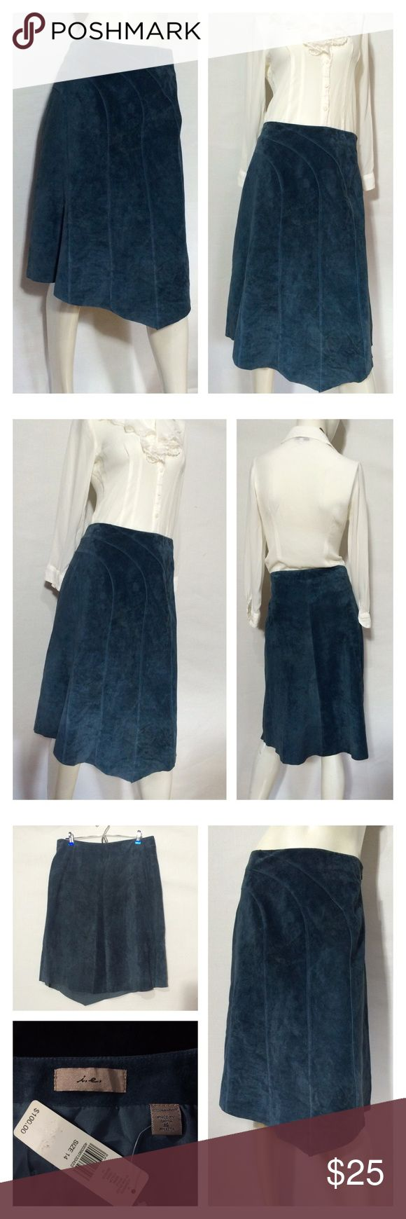 "Suede Slate Blue Leather A line Skirt Brand New Slate blue soft leather/suede A-line skirt. In excellent condition and tags still attached.  Absolutely gorgeous stitching detail, fully lined.  I adjusted it to fit the mannequin but this is a U.S size 14 - Measurements below of item laid flat:  Waist: 17.5"" Hips: 22.5"" Length: 26"" Element Skirts A-Line or Full"