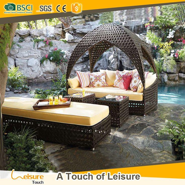 Minimalist design castal outdoor furniture wicker sunbed garden house furniture