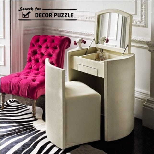White Small Dressing Table With Mirror For Modern Bedroom Designs