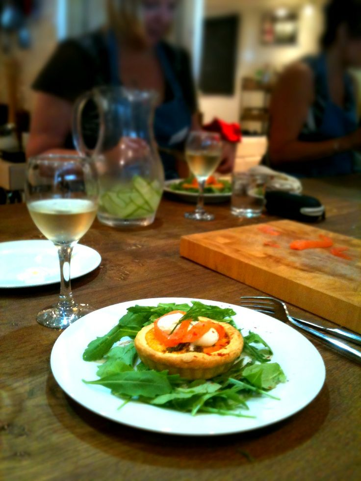 Smoked trout tartlette with quail egg and rocket in the kitchen at Food at 52 cookery classes London