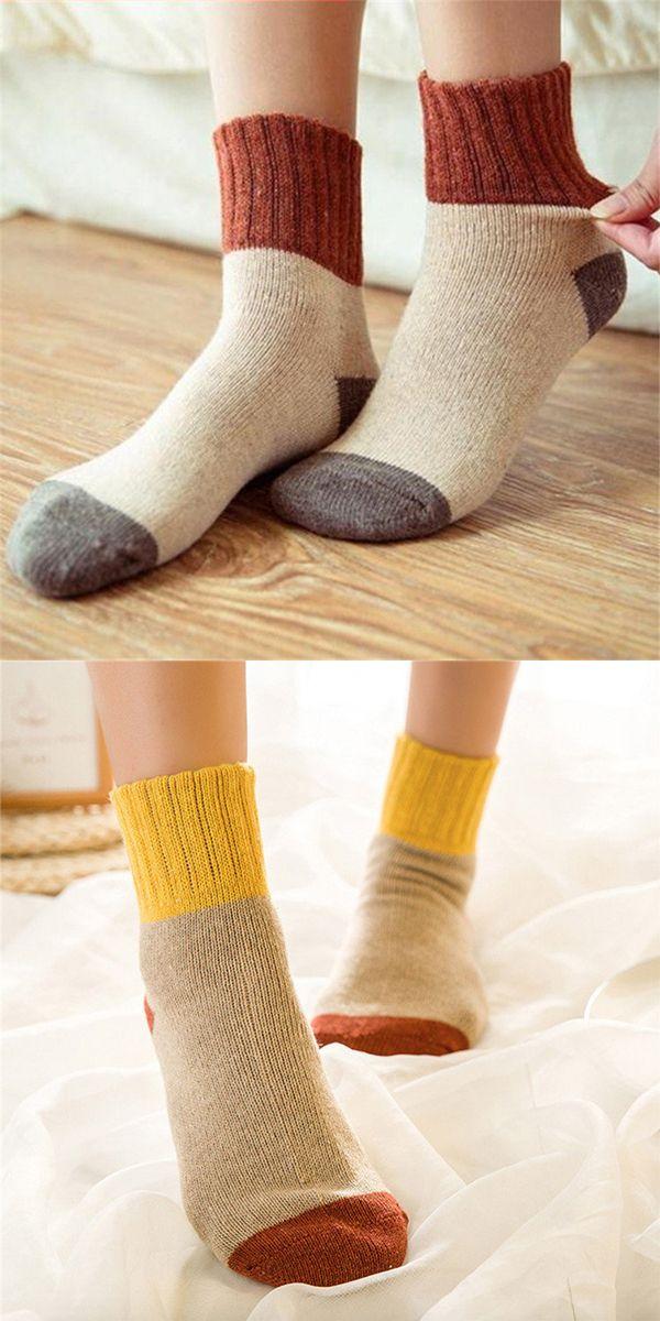 Women Retro Thickening Winter Warm Socks Wool Patchwork Tube Harajuku Hosiery