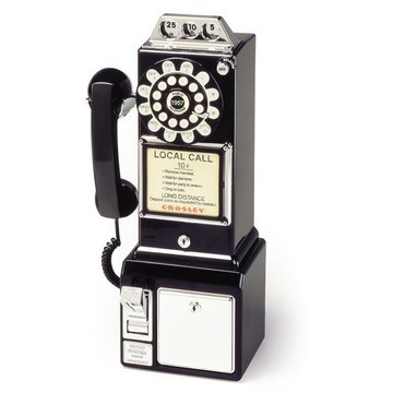 50's Pay Phone Black  by Crosley Radio. First introduced in the 1950s, the iconic 3-slot-style payphone was a street corner mainstay until 1965. Crosley's prepay replica will take you back to the pre-mobile-phone era, when calls cost only a dime and old-fashioned phone booths were your lifeline away from home. While you can still enjoy the functional slot and listen to the jingle as your money is deposited, you won't have to pay to use this classic reissue. $68.99