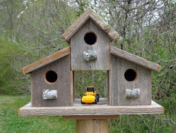 Rustic Reclaimed Cedar Birdhouse Barn by SwampwoodCreations, $45.00
