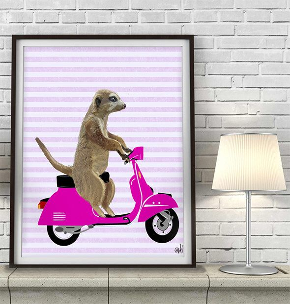 Meerkat &Pink Moped  Pink girl room wall decor girls nursery toddler wall art baby girls room decor girl wall art children's room decor by LoopyLolly on Etsy https://www.etsy.com/listing/126734244/meerkat-pink-moped-pink-girl-room-wall