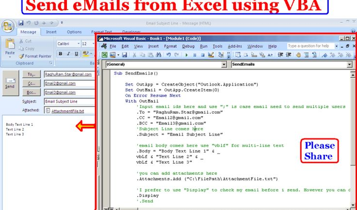Learn to Compose and send emails from Excel using VBA Excel