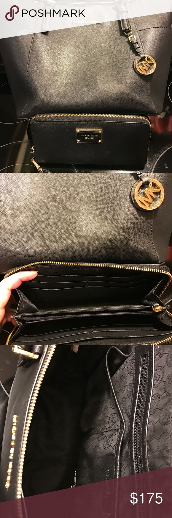 Michael Kors black bag Medium sized black Michael Kors purse and wallet. Both were originally purchased from this site. Both have some signs of use but no major blemishes. Smoke free home! I am reselling because I am running out of closet space :) Michael Kors Bags Shoulder Bags