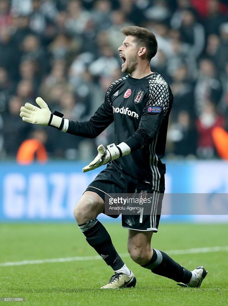 Goalkeeper of Besiktas Fabricio Agosto Ramirez reacts during the UEFA Champions League football match between Besiktas and Napoli at the Vodafone Arena in Istanbul, Turkey on November 1, 2016.