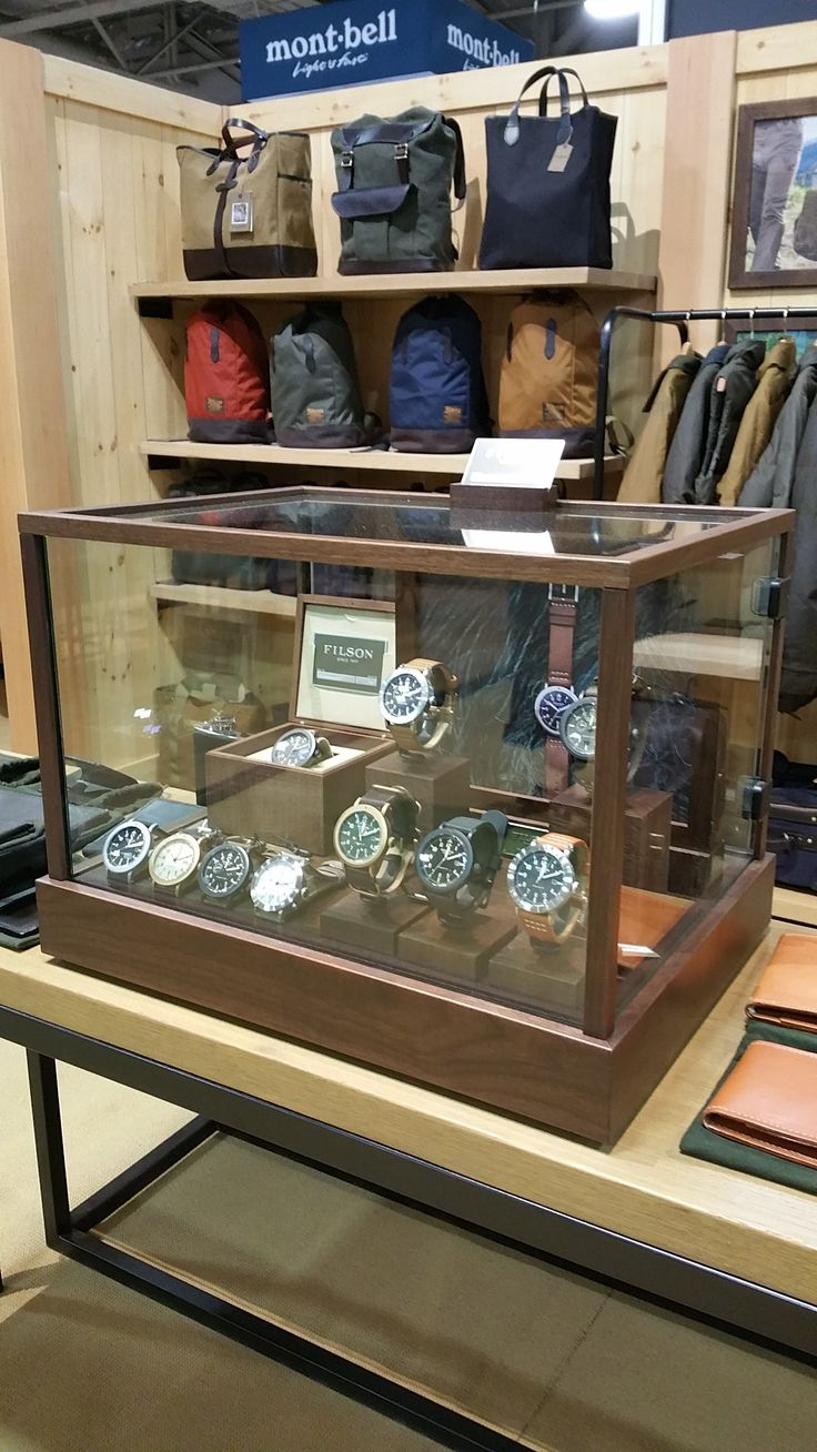 Watch display case for the Shinola/Filson collaboration collection at the Outdoor Retailer Winter market in 2016.