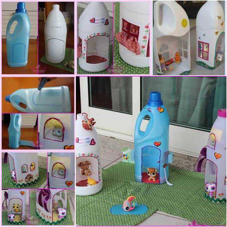 Adorable Doll Houses from Plastic Bottles #DIY #craft #recycling