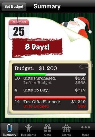 Santa's Bag  a Christmas gift list app for iPhone