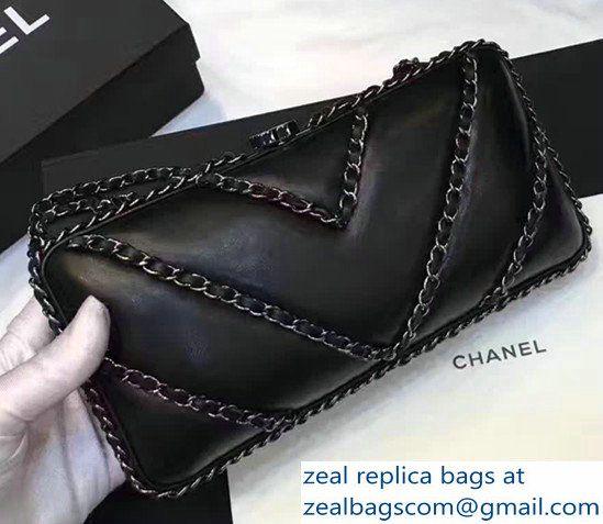 Chanel Leather V Chain Detail Evening Bag Black 2017