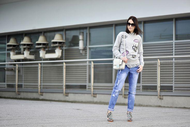 boyfriendy-stylizacja #street #fashion #street #style #boyfriend #jeans #grey 3blouse #striped #blouse #outfit