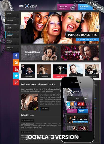 Radio V3 Joomla web theme Price - $45 | Music website templates ...