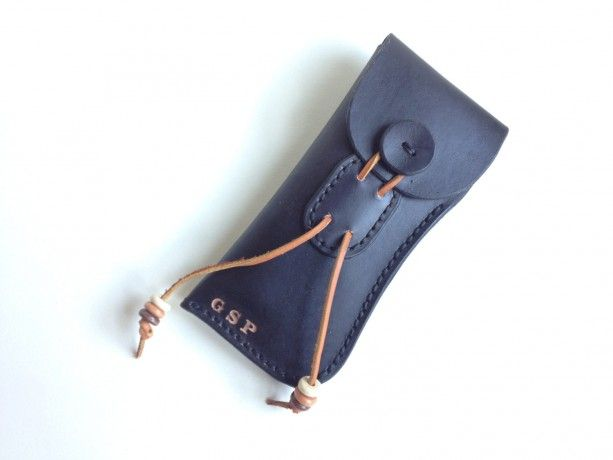 Handmade Leather Eyeglass Case (((customized monogram))) HAND SEWN & STAINED