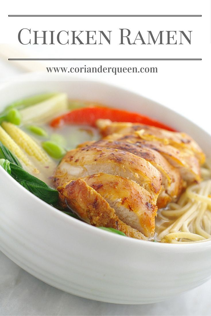 Chicken ramen, fresh and vibrant vegetables served in a rich stock and topped with marinated chicken
