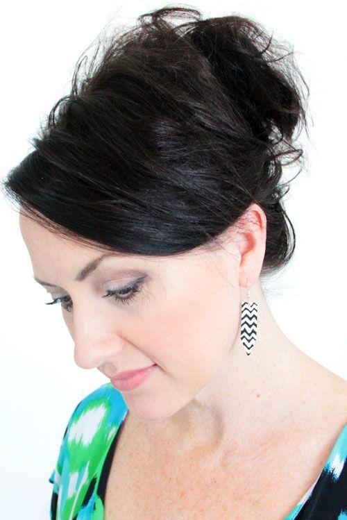 How to make Alisa Burke's DIY chevron earrings recycled.
