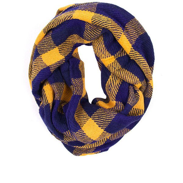 Plaid Infinity Scarf-Blue/Yellow ❤ liked on Polyvore featuring accessories, scarves, blue scarves, plaid infinity scarves, infinity scarf, loop scarves and tartan shawl