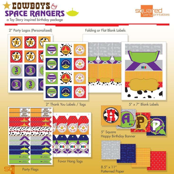 Toy Cowboy And Space Ranger Printable Party Package