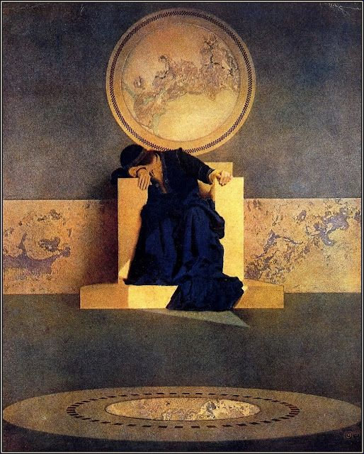 Maxfield Parrish - If God is above seeing all, then Maxfield Parrish surely captured exactly how God feels:  occasionally peering through his portal toward earth, and the willful, cruel, violent humans below -- desolated.