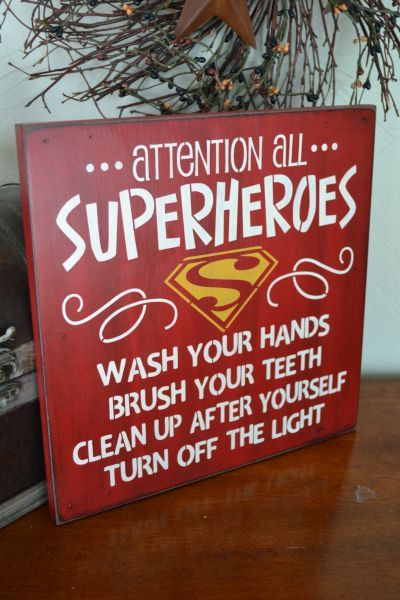 Attention All Superheroes, Bathroom Sign12x12 Primitive Wood Sign, CUSTOM COLORS haha. The Vinyl Warehouse team love this. #be_inspired #inspire_others